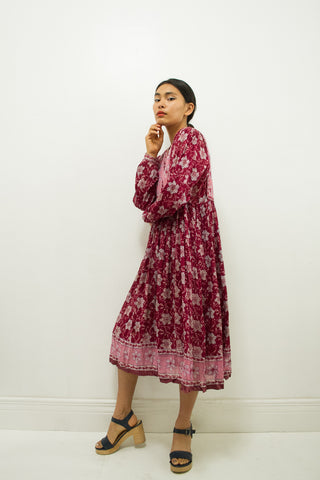 1970s Mayur Plum Indian Cotton Dress