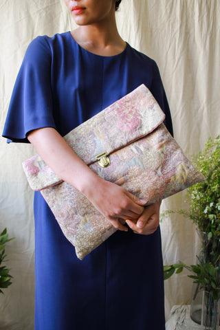 1960s City Treescape Woven Tapestry Large Clutch
