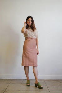 1950s Blush Linen Pencil Skirt