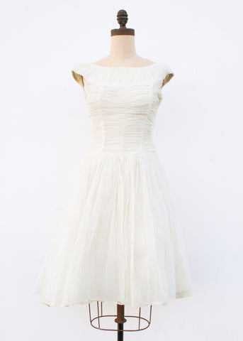 1950s Cream Ruche Chiffon Tea Dress