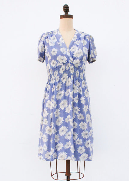 1940s cerulean sunflower dress