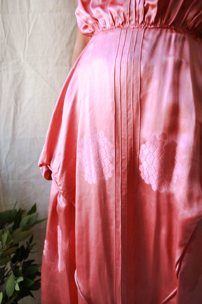 1920s Rare Rouge Pink Satin Honeycomb Damask Dress