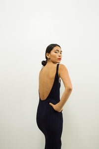 1980s Italian Ribbed Low Back Dress