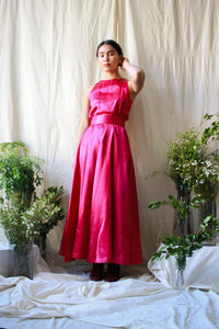 1950s Silk Fuschia Wood Grain Print Gown