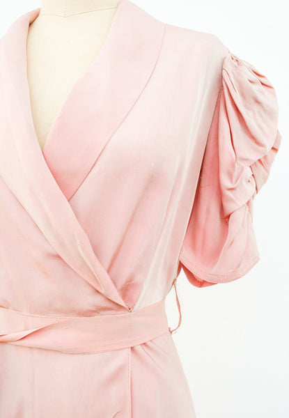 1930s Pink Taffeta Wrap Dress