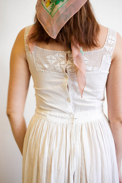 Edwardian Crochet Trim Cotton Batiste Dress