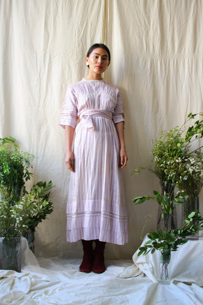 Edwardian Lilac Pleated Lawn Dress
