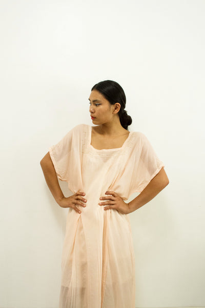 Victorian Blush Silk Slip Dress