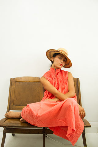 1980s Coral Cotton Tent Dress