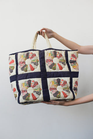 1970s Patchwork Dresden Feedsack Tote Bag