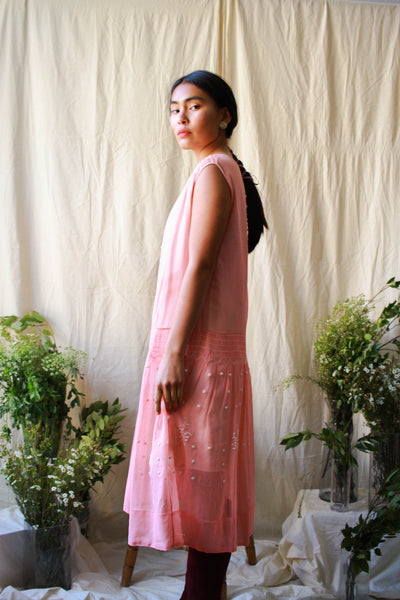1920s Embroidered Pink Smock Dress