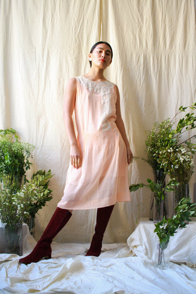 1920s Blush Embroidered Sleeveless Day Dress