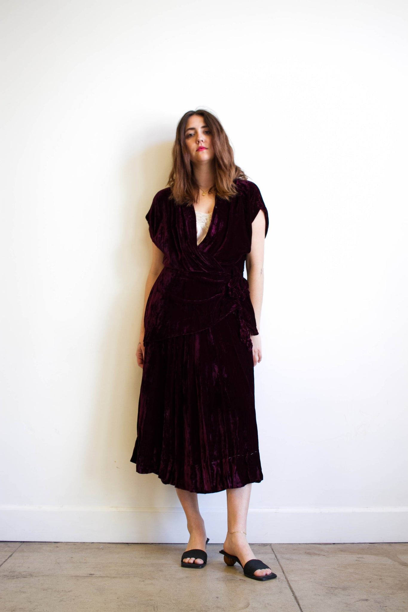 1940s Wine Burgundy Velvet Rosette Dress