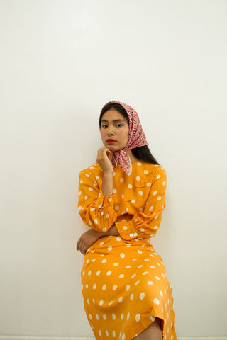 1940s Tangerine Polka Dot Dress