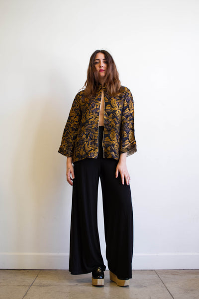 1990s Stretch Nylon Jersey High Waist Pants