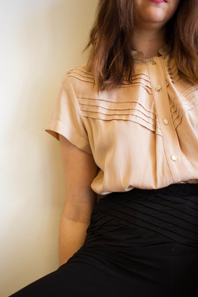 1950s Beige Pink Rayon Pleated Blouse