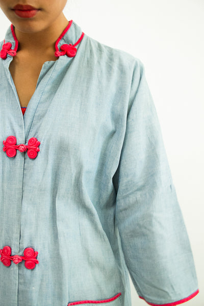 1960s Chambray Orient Duster Jacket
