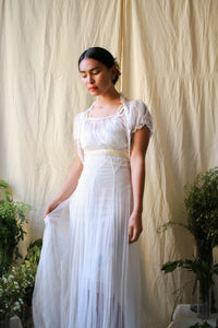 1930s White Mesh Net Dress Set
