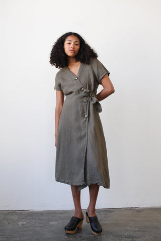 1980s Taupe Linen Midi Dress