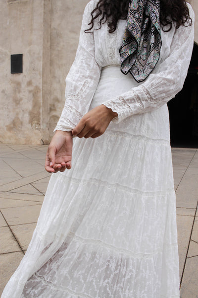 Edwardian Embroidered Lace Paneled Lawn Dress
