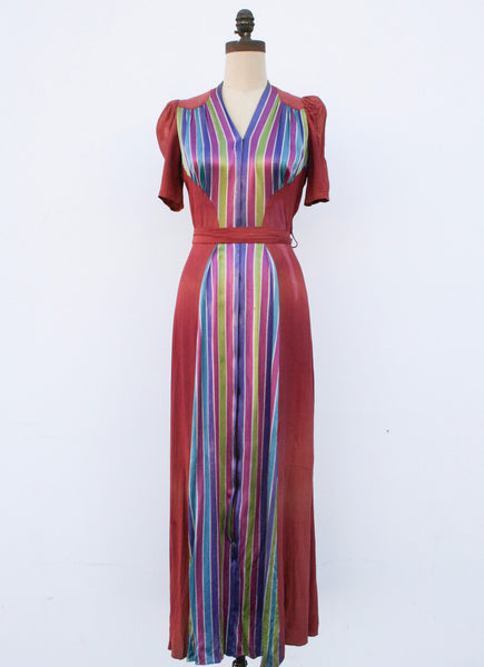 1940s Technicolor Striped Crepe Dress