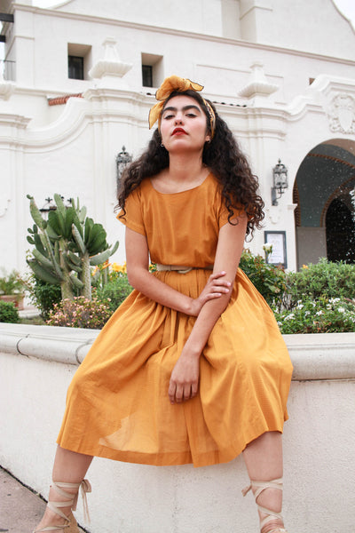 1980s Japanese Pumpkin Cotton Day Dress