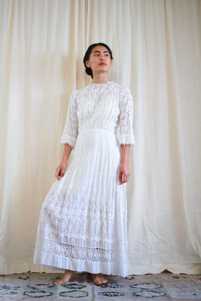Edwardian Eyelet Cotton Lawn Dress