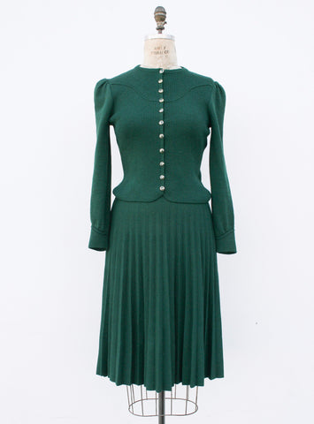 1960s St. John Forest Green Knit Two Piece