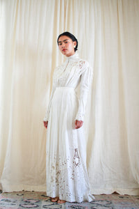 Edwardian Linen Cutout Irish Crochet Lawn Dress