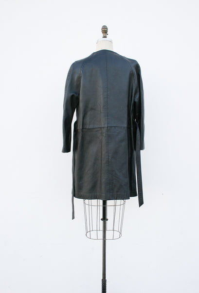 1970s Black Leather Cocoon Coat