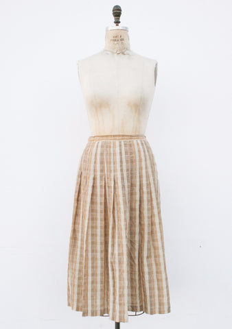 1980s Champagne Textured Skirt