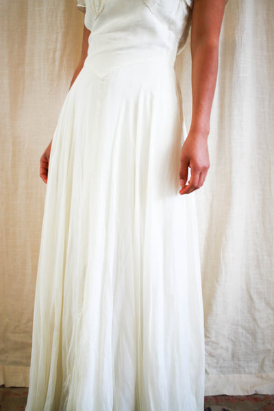 1930s Ecru Chiffon Layered Wedding Gown