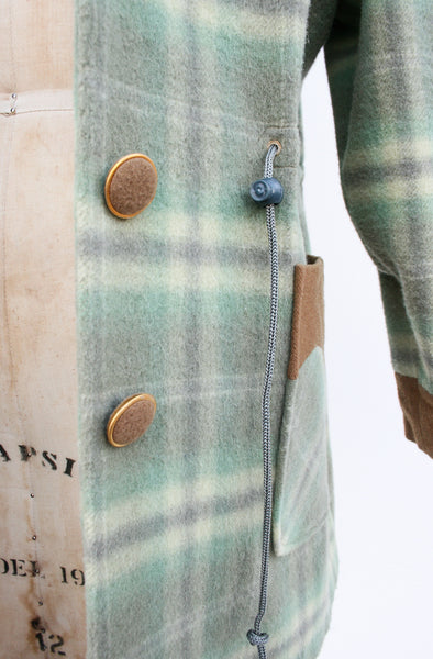 1980s Mint Micro Suede Plaid Jacket
