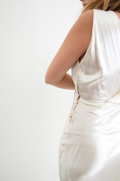 1930s Liquid Satin White Bias Cut Dress