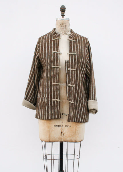 1950s Brown Striped Wool Jacket