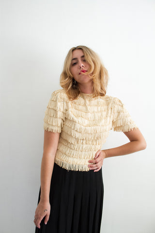 1930s Crepe Cream Fringe Blouse