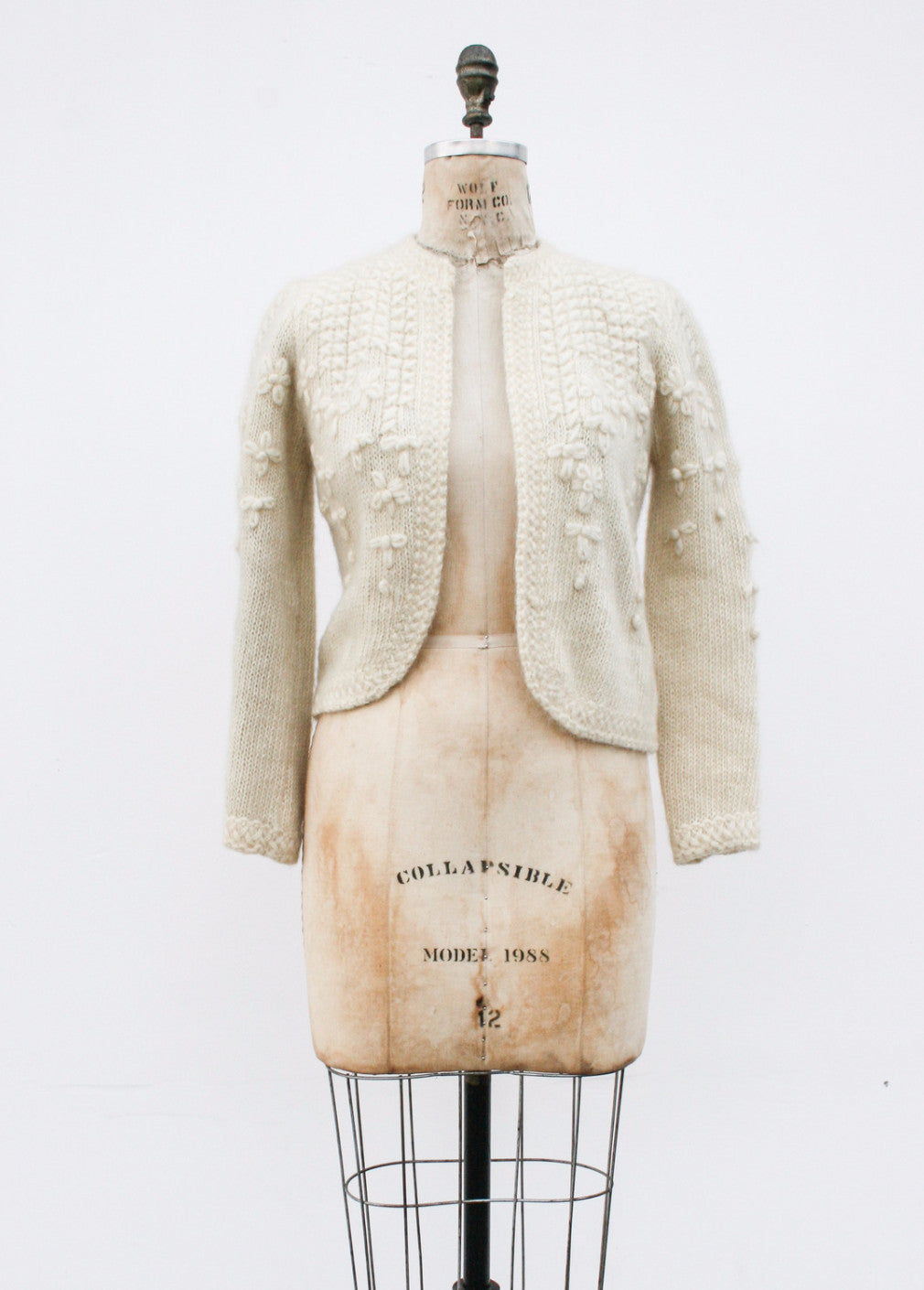 1980s Hand Knit Cream Cardigan