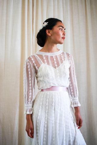 1950s Lim's Crochet Knit White Boho Dress