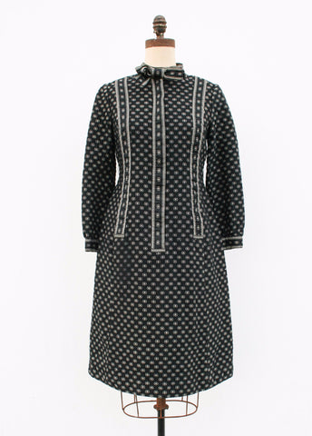 1950s Calico Black Cotton Dress