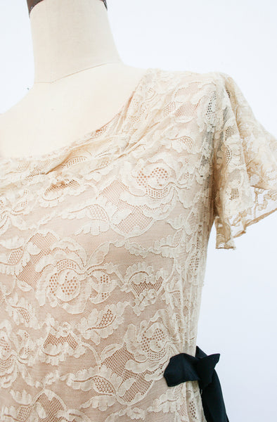 1940s Tea Lace Scalloped Dress