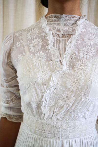 Edwardian Cotton Batiste Embroidered Lawn Dress