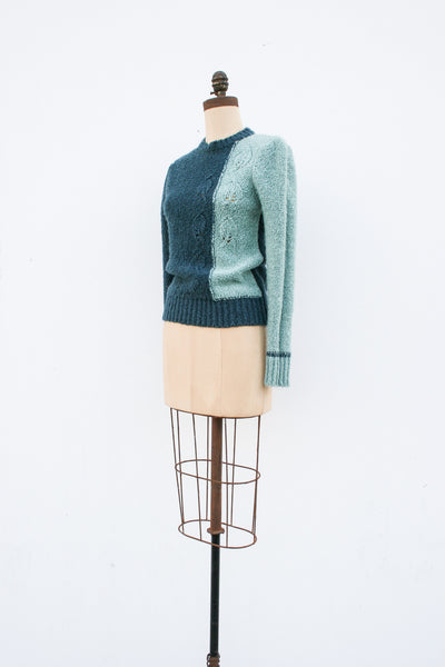 1940s Two-Toned Knit Sweater