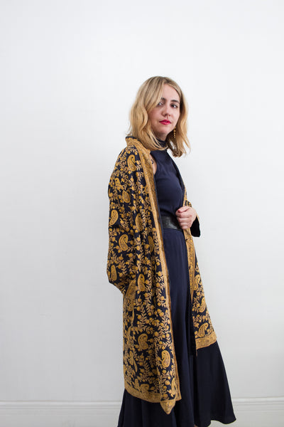 1960s Silk Embroidered Duster Coat