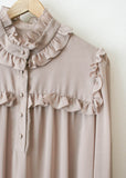 Mauve Sheer Ruffled Tiered Dress
