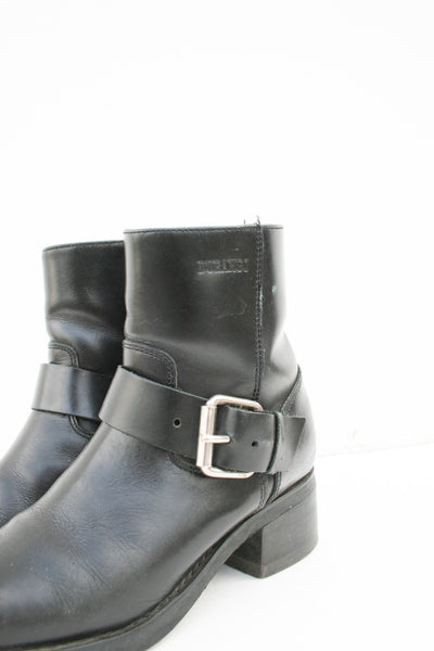1980s Durango Black Leather Moto Boots | 8