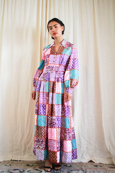 1970s Bill Tice Quilted Patchwork Print Maxi Dress