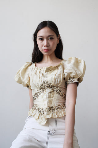 Victorian Cream Silk Boned Puff Sleeve Bodice