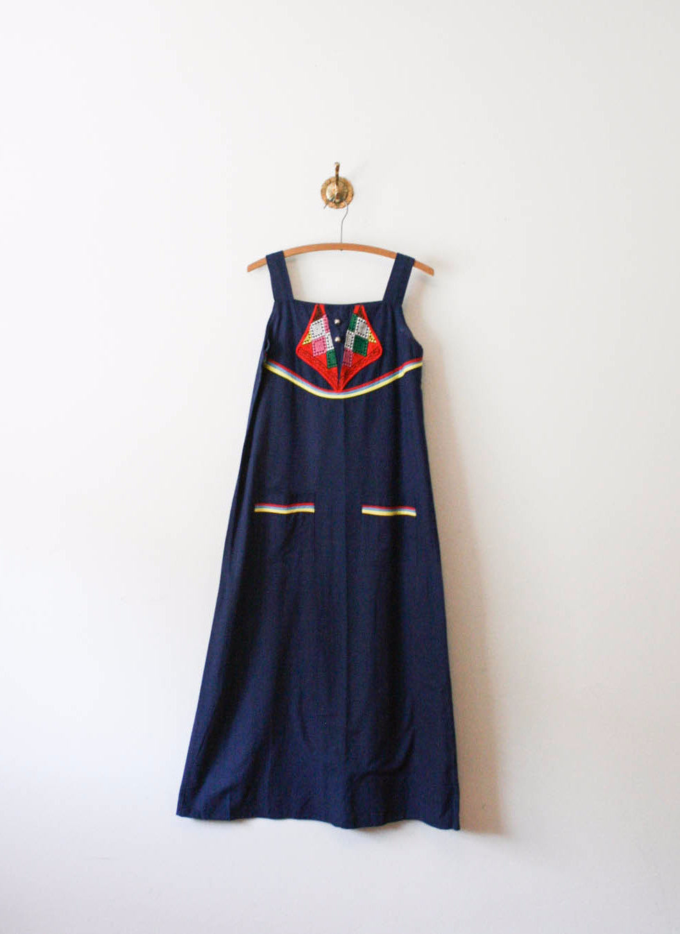 Navy Embroidered Cotton Dress
