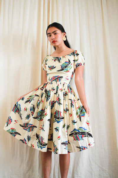 1950s Sail Away Cotton Dress