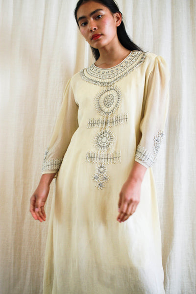 1930s Ecru Chiffon Layered Beaded Tent Dress